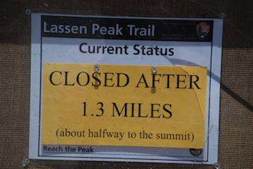 Lassen Peak closed